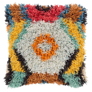 As Shown: Size: 20 x 20 inches Material: Wool & Cotton Color: Multicolor