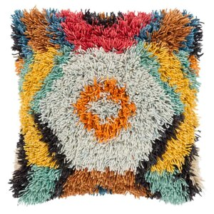 Woodstock Shag Pillow - AGD-002 20 x 20 inches Wool & Cotton Multicolor