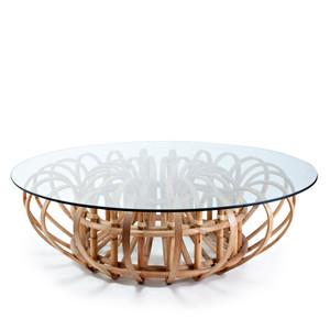 Aiden Cocktail Table - 67-AIDN CT/N/GL 54 dia x 16.75 H inches Rattan, Glass