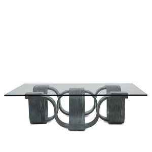Luzon Square Cocktail Table 45 x 45 x 12.5 H inches Chestnut Veneer, Glass Grey
