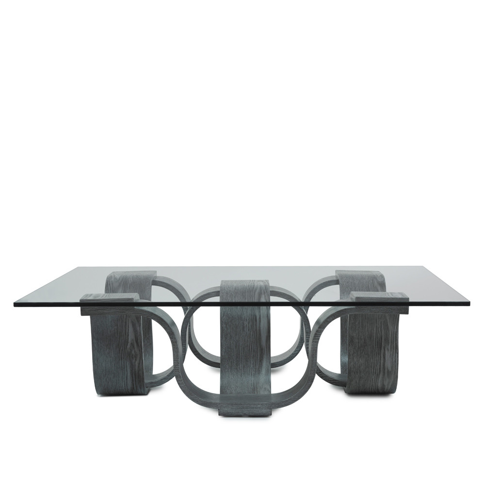Luzon Square Cocktail Table - 02-SQ CT/GRY 45 x 45 x 12.5 H inches Chestnut Veneer, Glass Grey