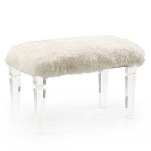 Crawford Faux Fur Bench 32 x 16 x 19 H inches Acrylic, Faux Fur