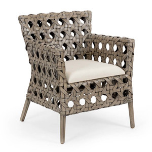Mandaue Bistro Chair 25 x 26.25 x 31.5 H inches Rattan, Cotton Grey Stone