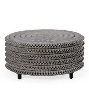 Christopher Cocktail Table 33 dia x 15.5 H inches Rattan, Wood