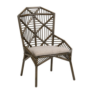 Arden Side Chair 27 x 27 x 40.5 H inches, 18.5 inch seat Rattan, Linen Mocha