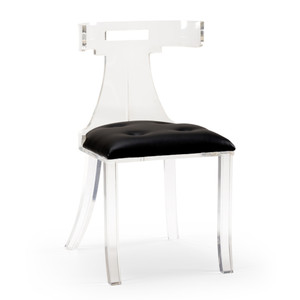 Elsa Acrylic Side Chair 19 x 16 x 34 H inches Acrylic, Leather