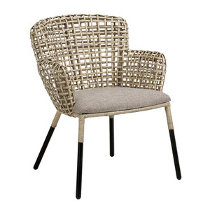 Whitney Chair 21 x 25 x 32 H inches, 19 inch seat Rattan, Steel, Linen