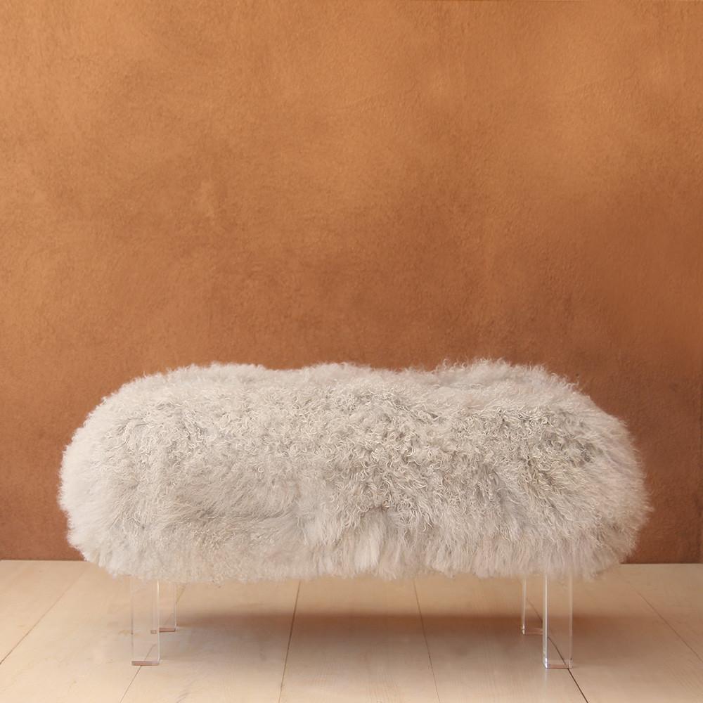 Beverly Modern Mongolian Bench 36 x 15 x 18 H inches Mongolian Hide, Lucite Legs Light Grey