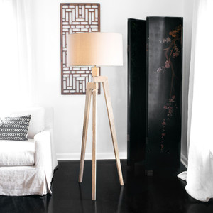 Touba Tripod Floor Lamp 21 dia x 60 H inches Frake wood, Linen Shade