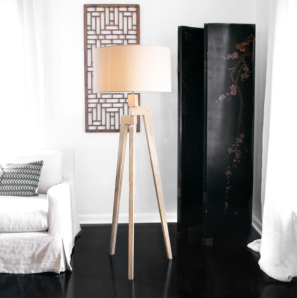 Touba Tripod Floor Lamp - TD-f 21 dia x 60 H inches Frake wood, Linen Shade