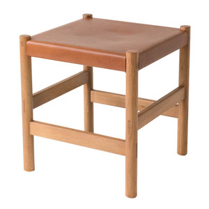 Juniper Stool  16 x 16 x  17.5 H inches Solid White Oak, Umber Leather Sienna Finish
