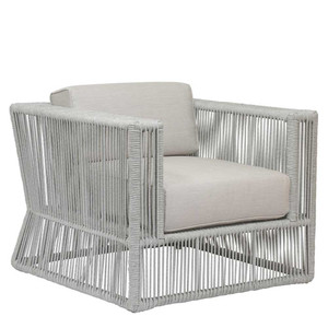 Milano Outdoor Club Chair 36 x 35 x 28 H inches, 18 inch seat height Powder Coated Aluminum, Acrylic, Canvas Silver Grey
