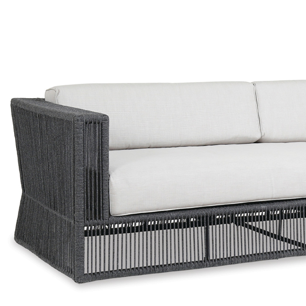 Milano Outdoor Sofa 91 x 35 x 28 H inches, 18 inch seat height Powder Coated Aluminum, Acrylic, Canvas Charcoal Grey