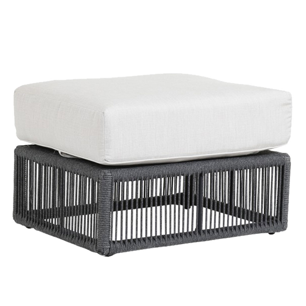 Milano Outdoor Ottoman 30 x 23 x 18 H inches Powder coated aluminum frame with woven acrylic rope Charcoal Grey