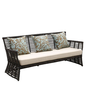 Venice Outdoor Sofa 77 x 29 x 34 H inches, 19 inch seat height Powder Coated Aluminum, Resin, Canvas
