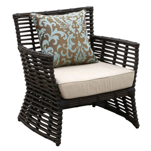 Venice Outdoor Arm Chair 31 x 29 x 34 H inches, 19 inches seat height Powder Coated Aluminum, Resin, Canvas