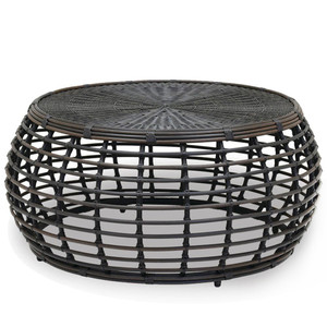 As Shown: Venice Outdoor Coffee Table Size: 43.5 x 43.5 x 19 H inches Materials: Powdercoated aluminum frame with rich chocolate resin weave