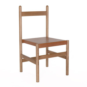 Juniper Chair 19 x 19 x  34 H inches Solid White Oak, Umber Leather Sienna Finish