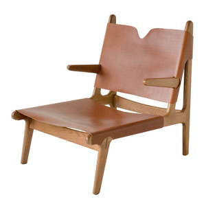 Plume Chair 24 x 32 x  30 H inches Solid White Oak, Umber Leather Sienna Finish