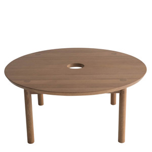 Aurea Coffee Table 32 dia x 14 H inches Solid White Oak Sienna Finish