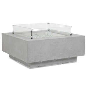 Gravelstone Square Fire Table 40 x 40 x 17 H inches Glass Fiber Reinforced Concrete, Glass