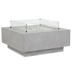 Ventura Square Fire Table 40 x 40 x 17 H inches Glass Fiber Reinforced Concrete, Glass