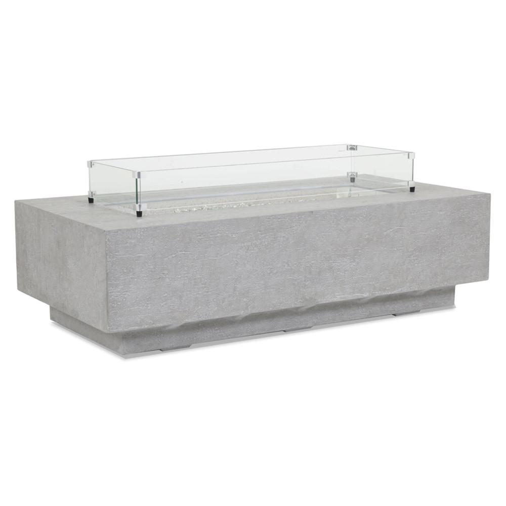 Ventura Rectangle Fire Table 60 x 30 x 17 H inches Glass Fiber Reinforced Concrete, Glass