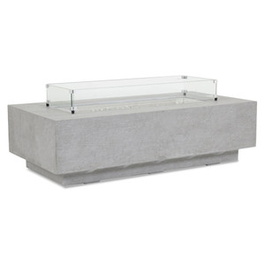 Ventura Rectangle Fire Table 60 x 30 x 17 H inches Glass Fiber Reinforced Concrete, Glass