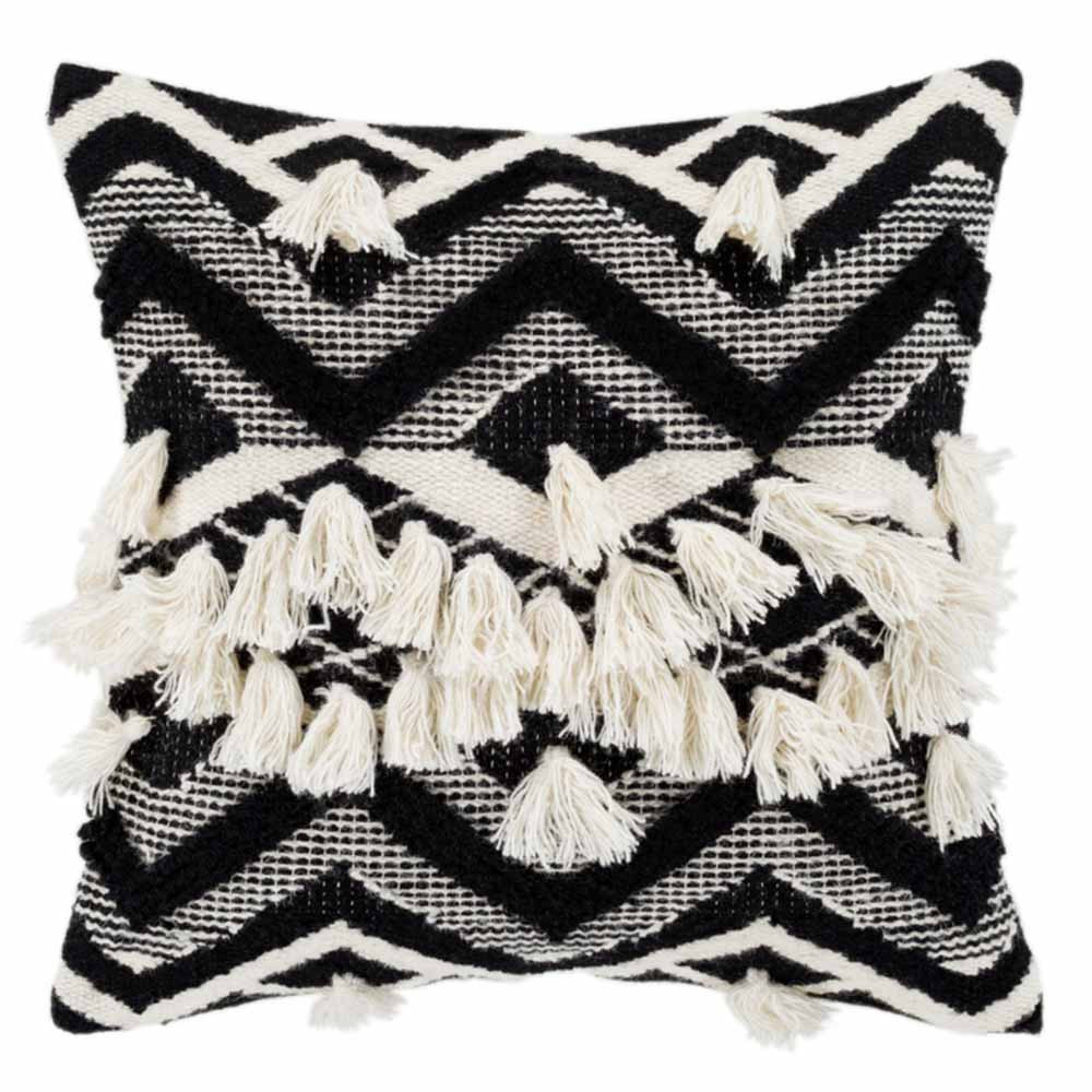 Fringed Gazah Pillow - GZA-002 18 x 18 inches Wool & Cotton
