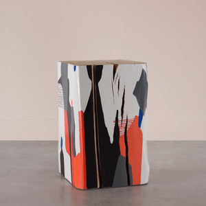 La Cueva Hand Painted Cube Table 15 x 15 x 24 H inches