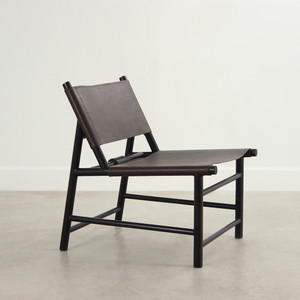 Altura Leather Lounge Chair 31 x 24 x 31 H inches (18 H inch seat)  Leather and Mango Wood