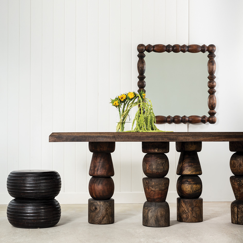 El Templo Dining Table Size: 36 x 84 x 30 H inches Dark Walnut Finish