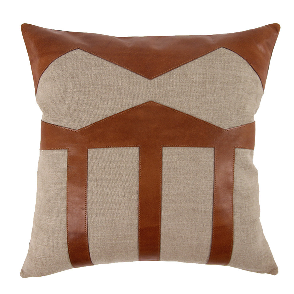 Taxco Pillow 20 x 20 inches Linen, Leather Natural, Saddle Brown