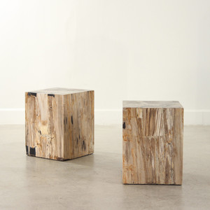 As Shown: Petrified Wood Cube Table Dimensions: 13.5 x 13.5 x 17.5 H inches, each is unique expect variation Color: Black & Neutral Mix
