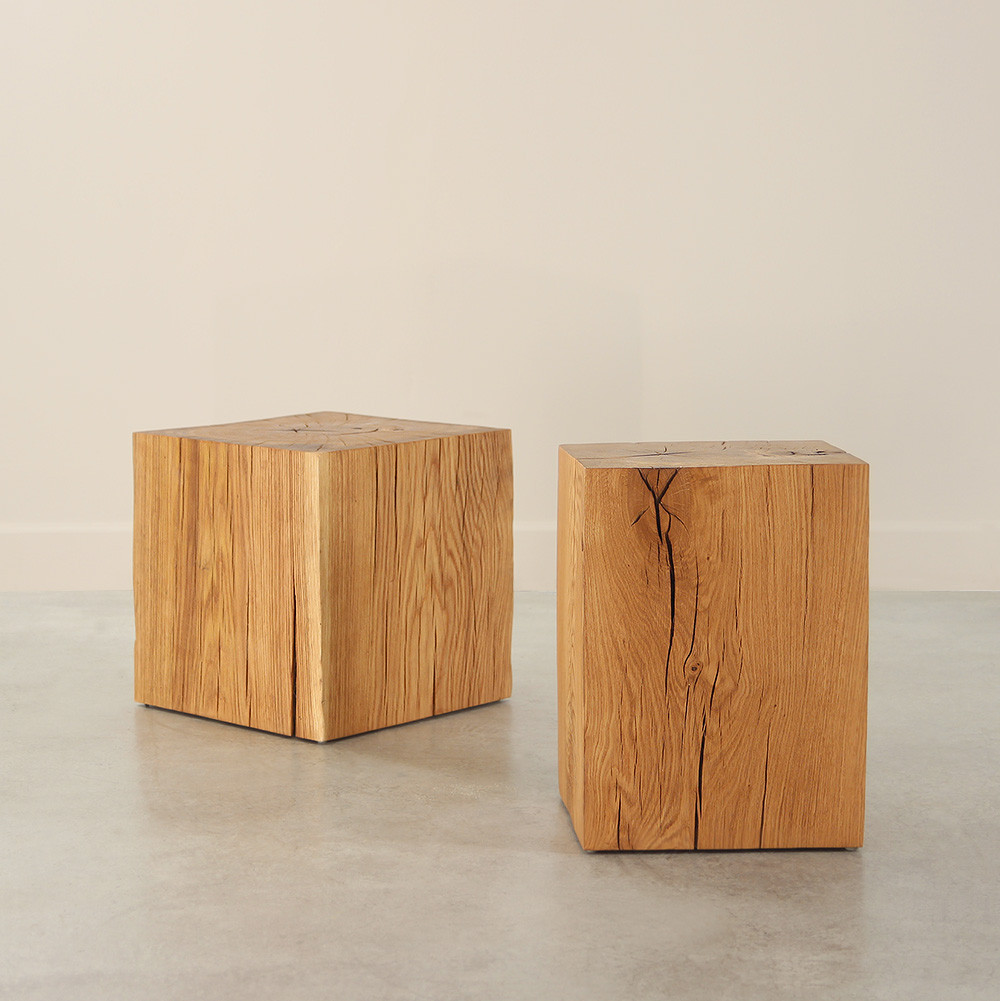 Solid Oak Cube Table Pfeifer Studio