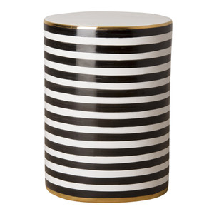 Napoli Striped Garden Stool Table 13 dia x 18.5 H inches Ceramic