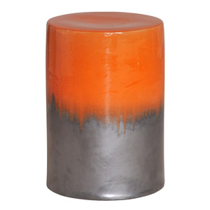 Jardin Stool Table 13 dia x 18 H inches Ceramic Burnt Orange, Grey