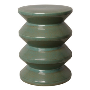 Accordion Ceramic Stool Table 13 dia x 18 H inches Ceramic Green
