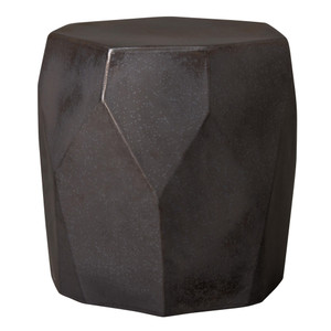 Facet Ceramic Stool Table 17 x 17 x 18 H inches Ceramic Gunmetal
