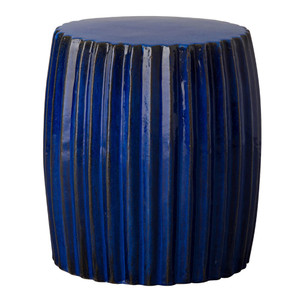 Pleated Garden Stool Table 16 dia x 18 H inches Ceramic Blue
