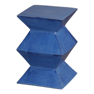 Zigzag Garden Stool 12 x 12 x 18 H inches Ceramic Blue