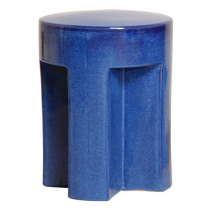 TX Stool 16 dia x 18 H inches Ceramic Blue