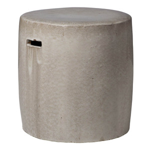 Cherie Ceramic Stool Table 16 dia x 16.5 H inches Ceramic Light Grey