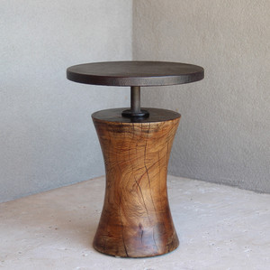 Burke Side Table 15 dia x 20 H inches Light Walnut Finish
