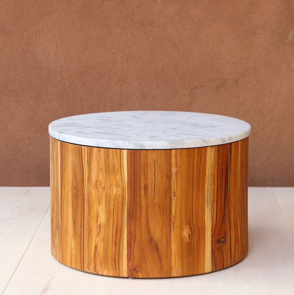 Polanco Low Table 24 dia x 15.5 H inches Teak, Marble Natural