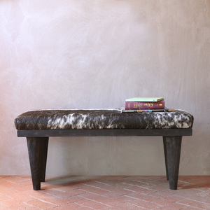 Benu Bida Cowhide Bench 15 x 40 x 18 H inches Cowhide, Pine Black and White Spotted, Ebony