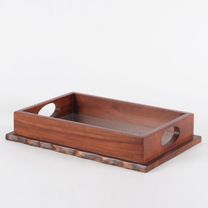 Natura Wood and Mirror Tray 11.75 x 18 x 3.5 H inches Margosa Wood, Mirror