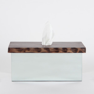 Natura Wood and Mirror Tissue Box 11.75 x 18 x 3.5 H inches Margosa Wood, Mirror