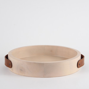 D'Avila Maple Tray 15 diameter x  12.75 H inches Maple, Leather