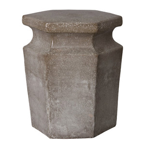 Hex Garden Stool Table 15 x 15 x 18 H inches Ceramic Stone Grey